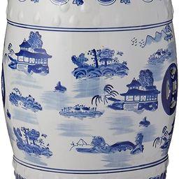 "Oriental Furniture 18"" Landscape Blue & White Porcelain Garden Stool | Amazon (US)"