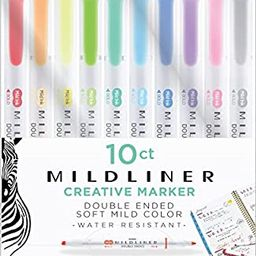 Zebra Pen Mildliner, Double Ended Highlighter, Broad and Fine Tips, Assorted Colors, 10 Pack   Amazon (US)