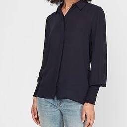 Textured Smocked Cuff Shirt   Express