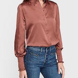 Satin Puff Sleeve Smocked Cuff Shirt   Express