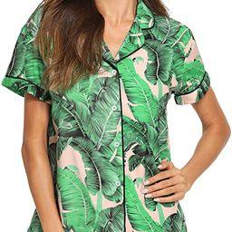 Floerns Women's Notch Collar Palm Leaf Print Sleepwear Two Piece Pajama Set | Amazon (US)