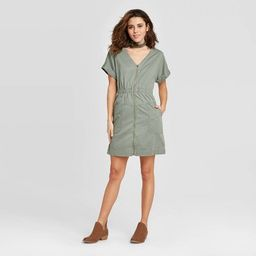 Women's Short Sleeve V-Neck Zip-Up Elastic Waist Dress - Universal Thread™ | Target
