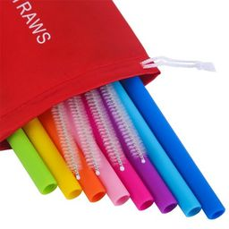 Silicone Straws 8Pcs Straight Smoothies straws for 30&20OZ tumblers+4 Brushes+1 Red Pouch | Walmart (US)