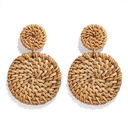 YAHPERN Rattan Earrings for Women Girls Handmade Lightweight Wicker Straw Stud Earrings Statement...   Amazon (US)