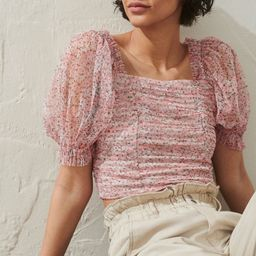Puff-sleeved Mesh Top   H&M (US)