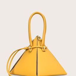 Pyramid Satchel Bag With Drawstring   SHEIN
