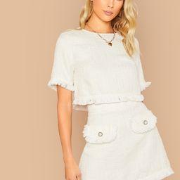 SHEIN Fringe Trim Tweed Top & Button Detail Skirt Set   SHEIN