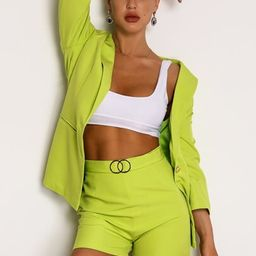 Joyfunear Neon Green Single Button Blazer & Ring Detail Short Set   SHEIN