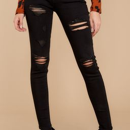 Confession Time Black Distressed Skinny Jeans   Red Dress