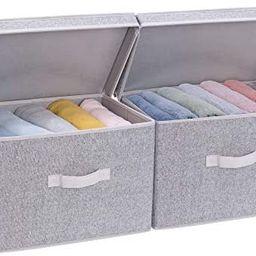 Storage Bin with Lid, Large Storage Baskets with lid, Decorative Storage Boxes with Lids, Gray, 2...   Amazon (US)