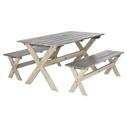 Marina 3pc Rectangle Wood Patio Dining  Set - Gray / White - Safavieh   Target