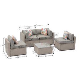 Huyett 5-Piece Outdoor Furniture Set Warm Gray Wicker Sectional Sofa W Thick Cushions, Glass Coff...   Wayfair North America