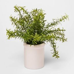 """9"""" x 9"""" Artificial Rosemary Plant in Ceramic Pot Green/White - Threshold™   Target"""
