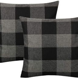 VAKADO 20x20 Inch Black Grey/Gray Farmhouse Buffalo Plaid Throw Pillow Covers Retro Rustic Checke...   Amazon (US)