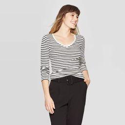 Women's Striped Regular Fit Long Sleeve V-Neck T-Shirt - A New Day™ Cream | Target