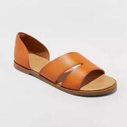 Women's Louise Faux Leather Open Toed Assymetrical Sandals - A New Day™ Cognac | Target