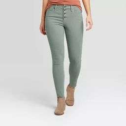 Women's High-Rise Raw Hem Ankle Skinny Jeans - Universal Thread™ Turquoise Green | Target