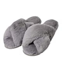 Women's Cross Band Soft Plush Fleece Slippers Fuzzy Fluffy on Open Toe Anti-Slip Rubber Sole House/O | Amazon (US)