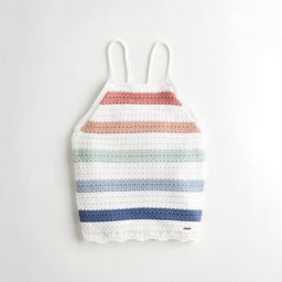 Crop Tie-Back High-Neck Sweater Tank   Hollister US