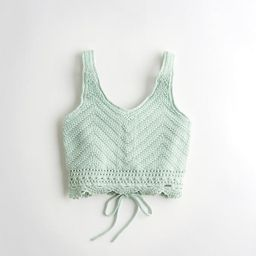 Crop Lace-Up Sweater Tank   Hollister US