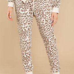 Let's Get Cozy Beige Leopard Print Jogger   Red Dress