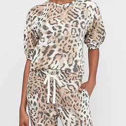 Leopard Print Puff Sleeve Fleece Sweatshirt   Express