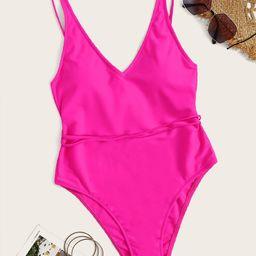 Neon Pink Criss Cross One Piece Swimsuit   SHEIN