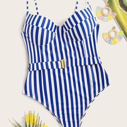 Striped Belted One Piece Swimsuit   SHEIN