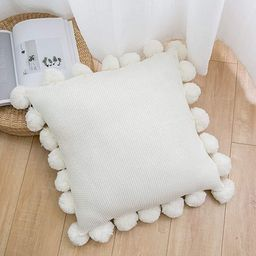 famibay Knitted Pillow Covers with Pompoms Fringe Striped Cable Knitted Throw Pillow Cases Decora... | Amazon (US)