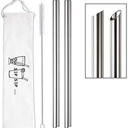 "[Angled Tips] 2 Pcs Jumbo Reusable Boba Straws & Smoothie Straws, 0.5"" Wide Stainless Steel Straw... | Amazon (US)"