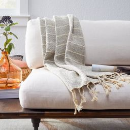 "Belham Living Cotton Decorative Throw Blanket, 50"" x 60"", Gray Striped   Walmart (US)"