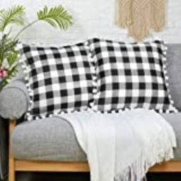 Soffta Buffalo Plaid Check Throw Pillow Covers 18 x 18 Inch Pack of 2 100% Pure Cotton Pompom Tassel | Amazon (US)