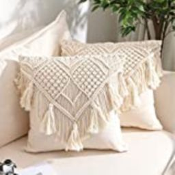 Throw Pillow Covers, Macrame Cushion Case, Woven Boho Cushion Cover for Bed Sofa Couch Bench Car Hom | Amazon (US)