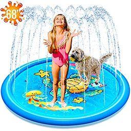 "(68"") Inflatable Splash Sprinkler Pad for Kids Toddlers Dogs, Kiddie Baby Pool, Outdoor Water Mat... | Amazon (US)"