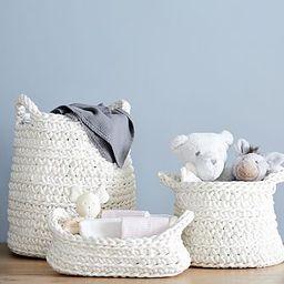 Ivory Chunky Knit Nursery Storage | Pottery Barn Kids