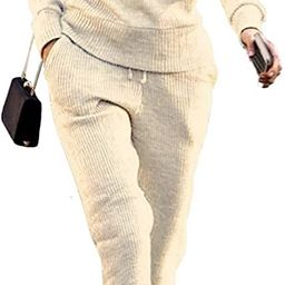 VNVNE Womens Fall Rib-Knit Pullover Sweater Top & Long Pants Set 2 Piece Outfits Tracksuit | Amazon (US)