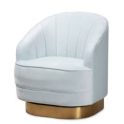 Baxton Studio Fiore Velvet and Brushed Gold Swivel Accent Chair in Light Blue | Walmart (US)