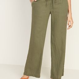 Mid-Rise Wide-Leg Linen-Blend Pull-On Pants for Women   Old Navy (US)