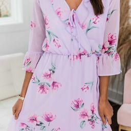 Lasting Impression Floral Dress Lavender   The Pink Lily Boutique