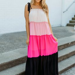 Lost Myself In Love Pink Colorblock Maxi Dress   The Pink Lily Boutique
