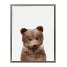 """Kate & Laurel 24""""x18"""" Sylvie Baby Bear Animal Print Portrait By Amy Peterson Framed Wall Canvas G... 