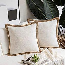 Phantoscope Pack of 2 Farmhouse Decorative Throw Pillow Covers Burlap Linen Trimmed Tailored Edge...   Amazon (US)