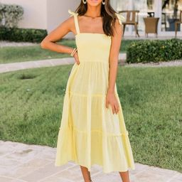 For Your Heart Only Yellow Midi Dress   The Pink Lily Boutique