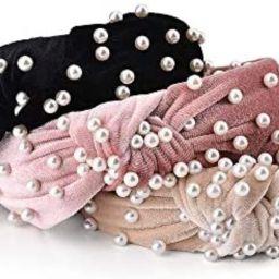 3 Pack Velvet Wide Headbands Knot Turban Headband Vintage Hairband with Faux Pearl Elastic Hair H... | Amazon (US)