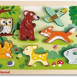 Janod Chunky Stand Up Puzzle - 7 Piece Colorful Wooden Forest Animal Themed Jigsaw Puzzle - Encou...   Amazon (US)