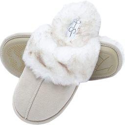 Jessica Simpson Comfy Faux Fur Womens House Slipper Scuff Memory Foam Slip On Anti-Skid Sole | Amazon (US)