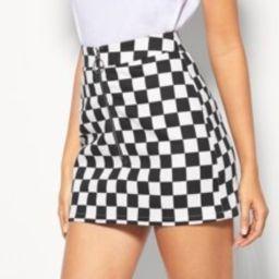 O-Ring Zipper Checkered Skirt | SHEIN