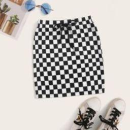 Drawstring Waist Checkered Skirt | SHEIN