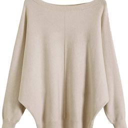 Boat Neck Batwing Sleeves Dolman Knitted Sweaters and Pullovers Tops for Women | Amazon (US)