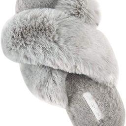 Women's Cross Band Soft Plush Fleece House Indoor or Outdoor Slippers | Amazon (US)